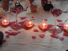 Centerpieces for daughter's bridal shower with a red and black theme.
