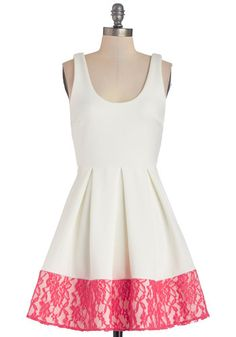 Floral di Latte Dress - White, Solid, Lace, Pleats, Daytime Party, Valentine's, A-line, Sleeveless, Good, Scoop, Short, Knit, Pink, Exposed ...