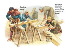 Medieval carpenters at work. Medieval Life, Medieval Castle, Medieval Fantasy, City Layout, Renaissance Architecture, Mystery Of History, Art Station, Historical Art, Detailed Drawings
