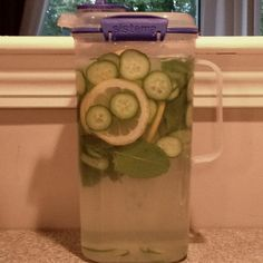 Weight loss water- lemons, cucumber, mint, and ginger