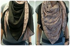 Double faced scarf made of chiffon and soft lace. Perfect for this winter.