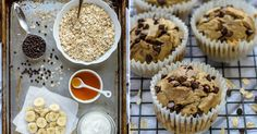 Banánovo vločkové muffiny Cooking Recipes, Healthy Recipes, Food Hacks, Scones, Nom Nom, Cupcakes, Yummy Food, Cookies, Breakfast