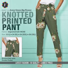 Trousers & Pants Knotted Printed Pant Fabric: Imported Soft Moss Waist Size: L- 32 in XL- 34 in XXL- 36 in 3XL- 38 in Length: Up To 38 in Type: Stitched Description: It Has 1 Piece Of Women's Pant Work: Printed Country of Origin: India Sizes Available: L, XL, XXL, XXXL   Catalog Rating: ★4 (394)  Catalog Name: Knotted Printed Pant CatalogID_112095 C79-SC1034 Code: 534-949302-1011