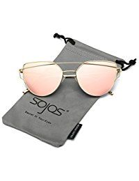 ff1ea20fa020 SojoS Cat Eye Mirrored Flat Lenses Street Fashion Metal Frame Women  Sunglasses With Gold Frame Pink Mirrored Lens  Clothing