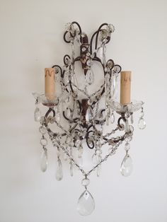 Pair of 19thC Lead Crystal Wall Lights