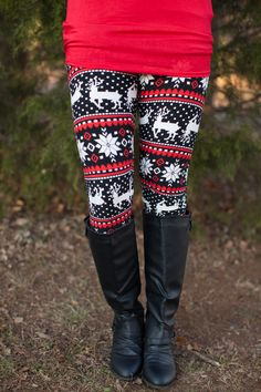 Red Reindeer Leggings One Size/ Coming back by - The Pink Lily Boutique Winter Wear, Autumn Winter Fashion, Snowflake Leggings, Pink Lily Boutique, Patterned Leggings, Clothing Styles, Clothing Accessories, Clothing Ideas, Women's Clothing