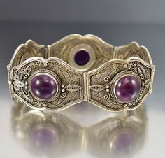 Antique Chinese Sterling Silver Filigree Amethyst Bracelet# # Vintage # Jewelry