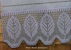 PINK ROSE CROCHET: Filet Crochet Leaves Bar Towel