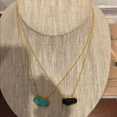 "Gemstone necklaces Designer One Oak by Sarah 18k gold plated brass, pave cz and natural gemstones. Adjustable 16-18"" length. Brand new. Each are $50. Great for Mother's Day Jewelry Necklaces"