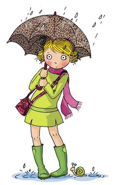 Girl with green dress and an umbrella Illustration Mignonne, Art Et Illustration, People Illustration, Umbrella Art, Under My Umbrella, Walking In The Rain, Singing In The Rain, Keith Haring, Cute Images