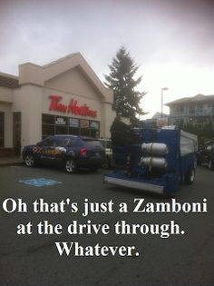 Meanwhile in Canada . Zamboni at Tim Horton's drive thru Canadian Memes, Canadian Things, I Am Canadian, Canadian Girls, Canadian Humour, Canada Funny, Canada Eh, Funny Basketball Pictures, Meanwhile In Canada