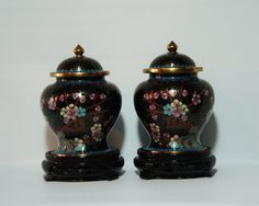 Two Black Cloisonné Chinese Ginger Jars wrapped by BeanzVintiques