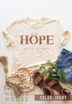 Christian T-Shirt and Gifts for Women My Hope is in Jesus Shirt Inspirational Graphic Tees Floral...