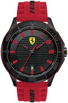 Ferrari Scuderia Men's Scuderia Red Silicone Strap Watch 830136 for men Unusual Watches, Cool Watches, Watches For Men, Men's Watches, Ferrari Watch, Ferrari Scuderia, Rubber Watches, Black Stainless Steel, Beautiful Watches