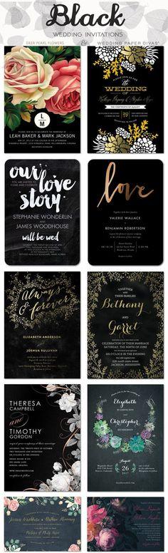 Black wedding color ideas - black wedding invitations / http://www.deerpearlflowers.com/wedding-paper-divas-wedding-invitations/2/