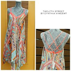 Cynthia Vincent SILK maxi dress New Twelth Street by Cynthia Vincent maxi dress  Luxurious 100% silk tribal print maxi dress  Fully cotton lined   size Small Multi color   New with tags  THIS BRAND IS SOLD AT ANTHROPOLOGIE Anthropologie Dresses Maxi