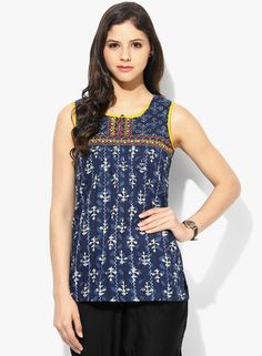 Rangriti Blue Printed Sleeveless Kurti for Jeans #Rangriti #Printed #EthnicKurti