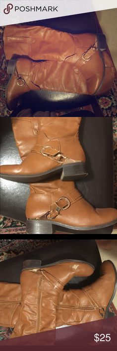Tall brown boots Tall brown boots with some scuffs and worn areas near the zipper (gets stuck but will zip up all the way!) Shoes Heeled Boots