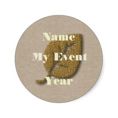 Personalized Golden Leaf Event Sticker