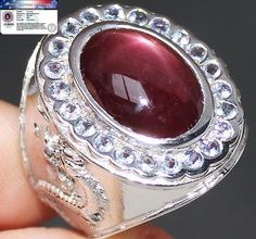 Antique 17.0 cts STAR RUBY & TANZANITE RING 100% SOLID 925SS S#8 No Reserve #JPS #Antique