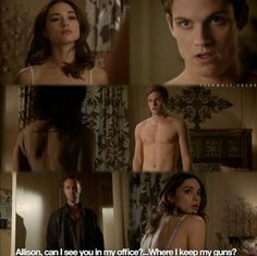I LOVES THIS SCENE! couldn't stop laughing! Daniel Sharman and Crystal Reed aka Isaac Lahey and Allison Argent