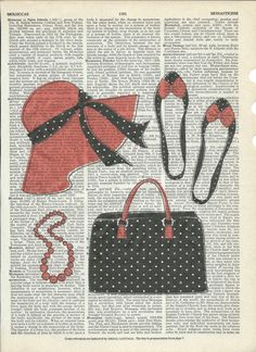 Vintage Black & Red Fashion Giclee Print on Upcycle Vintage Page Book Print Art Print Dictionary Print Collage Print by SheriDictionaryPrint on Etsy