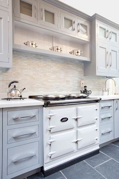 White Aga, traditional painted inset cabinets