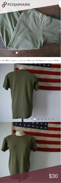 """Vintage Army Soffe tee Brand: Soffe Size: Small Material: 100% cotton  The thinnest I've ever seen these tees! I have pretty great collection of old military Soffe tees and this one may be one of my favorites. It has some slight bleaching or just sun damage on it. It adds to the effect though I feel. its seriously paper thin, and has tiny holes and stains and such. Its a gem!  Measurements are taken with the garment laying flat.  Arm Pit to Arm Pit: 19"""" Top to bottom: 24.5"""" Other"""