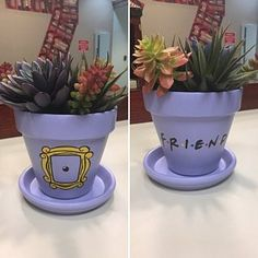 Valerie Vera added a photo of their purchase Clay Pot Crafts, Home Crafts, Diy And Crafts, Arts And Crafts, Painted Plant Pots, Painted Flower Pots, Decorated Flower Pots, Painted Pebbles, Diy Birthday