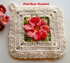 \ PINK ROSE CROCHET /: Pega Panelas Square com Flor - Crochê