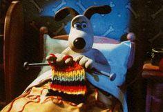 Gromit breit het liefst in bed... Waar brei jij graag? #breien