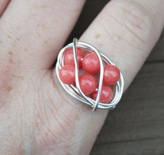 Wire Wrapped Ring Coral Beaded Cocktail Ring by LorisWireJewelry, $16.00