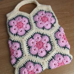 Pink and Cream Crochet African Flower Bag
