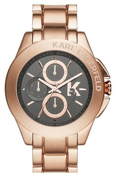 KARL LAGERFELD 'Energy' Chronograph Bracelet Watch, 44mm