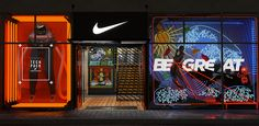 Nike - Forward Engineering vs Industrial Logoism on Behance Retail Facade, Shop Facade, Retail Windows, Gym Design, Retail Design, Display Design, Booth Design, Louis Voitton, Nike Retail