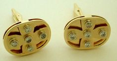 Very Unique Multi Level Yellow Gold and Diamond Men's Cufflinks - Whats Your Pattern ??