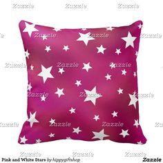 Pink and White Stars Throw Pillow