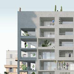 NP2F Architectes - 2013_Marseille_Logements ilot2b #gevel #compositie #appartementen