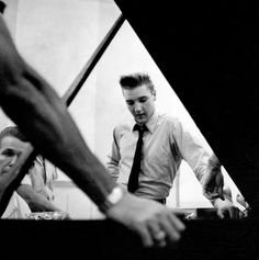 Elvis Presley at the RCA recording studio, in Nashville, Tennessee, 1958.