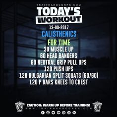 Le nouveau #trainhardcorpstodaysworkout est arrivé! New #trainhardcorpstodaysworkout is out now!!! 100% #calisthenics #bodyweight #workout !!! Calisthenics Workout Plan, Bulgarian Split Squats, Muscle Up, Street Workout, Hiit, Push Up, Athlete, Train, Sport