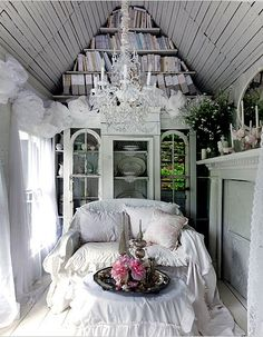 French cottage themed reading nook, so provincial.