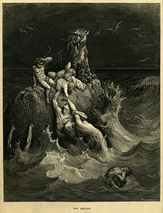 Fine Art Print of The Deluge, illustration from Dores The Holy Bible, engraved by Pannemaker, 1866 by Gustave Dore Gustave Dore, Norman Rockwell, Rockwell Kent, Saint Dominique, Gravure Illustration, Les Fables, Epic Of Gilgamesh, Bible Illustrations, Arte Obscura