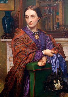 "~ ""Portrait of Fanny Holman Hunt"" by her husband, William Holman Hunt British Artist who was One of the Founders of the Pre-Raphaelite Brotherhood ."