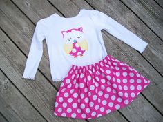 Girl's Toddlers Skirt and Shirt Outfit - Pink and White Polka Dot Skirt  with Owl Applique.
