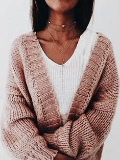The necklaces really make this sweater and t shirt a complete outfit! So cute!