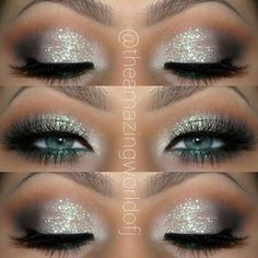Glitter Eye Makeup Idea for Blue Eyes