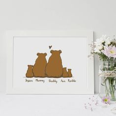Are you interested in our bear family print? With our mummy bear daddy bear you need look no further.