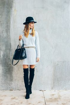 sweater dress, lowland boots, calf hair bag, fedora — via @TheFoxandShe