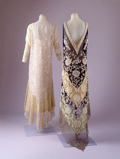 Dress  Callot Soeurs (French, active 1895–1937)  Date: 1920s Culture: French Medium: silk, metallic Dimensions: (a) Length at CB: 58 in. (147.3 cm) (b) Length at CB: 22 1/2 in. (57.2 cm) Credit Line: Gift of Madame Veronique Wolf and Madame Frederic Bon, 1952 Accession Number: C.I.52.19.1a, b