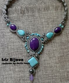 """Blue"", by Isis Bijoux (Romania). With jade, turquoise, howlite, Swarovski pearls and amethist"